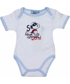 Geboorte kadootjes Snoopy romper wit/lichtblauw